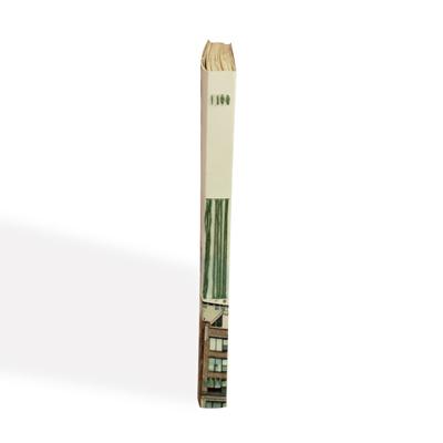 une reliure apparente avec un fil de coton vert d'eau