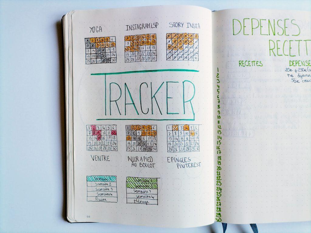 ma page de trackers dans mon ancien bullet journal